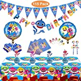 Set di 115 pezzi Set di forniture per feste di squalo, decorazione di compleanno per bambini di squalo, decorazione di festa di squalo, decorazione di forniture per feste di carnevale per bambini(blu)