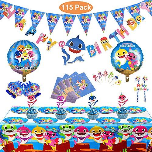 Magichui Conjunto de 115 Piezas Shark Party Supplies Set, Shark Baby Birthday Decoration, Shark Party Decoration, Children Carnival Party Supplies Decoration (Azul)