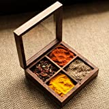 ExclusiveLane Multi-Utility Cum Spice Box In Sheesham Wood - Spice Rack Spice Holders Masala Container