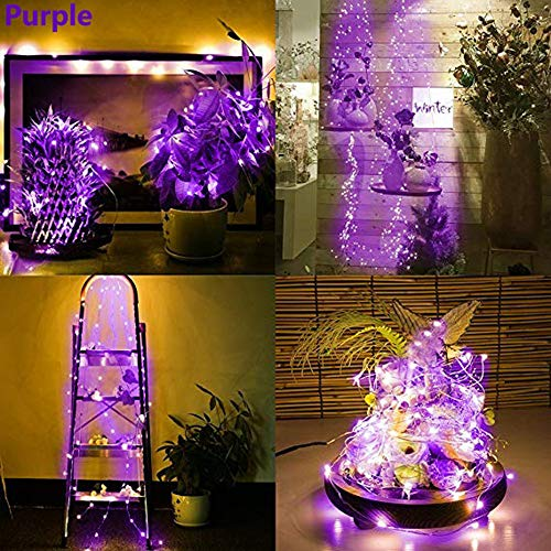 Wokee 3X 20 LED Flaschen-Licht, 2M Solar Kork Wein Flaschenverschluss Kupferdraht Lichterketten Fairy Lampen 8 Farbe [Warm-weiß] für Hochzeit Party Romantische Deko Bunt. (Lila)