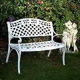 Lazy Susan - Banco metálico para el jardín, diseño de enrejado y rosas, color blanco