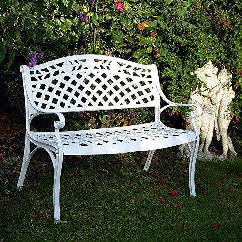 Lazy Susan – CLAIRE Rechteckiger Garten Beistelltisch mit 1 ROSE Gartenbank – Gartenmöbel Set aus Metall, Weiß - 4
