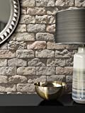 Steintapete in Beige Grau | schöne edle Tapete im Steinmauer Design | moderne 3D Optik für Wohnzimmer, Schlafzimmer oder Küche inklusive Newroom-Tapezier-Profi-Broschüre mit Tipps für perfekte Wände