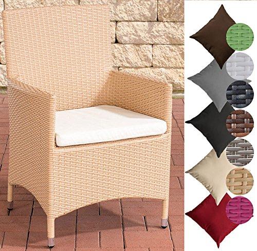 CLP Polyrattan-Gartenstuhl Julia mit robustem Untergestell aus Aluminium I Gartenstuhl mit Sitzkissen I erhältlich Rattanfarbe: Sand, Bezugfarbe: Cremeweiß -