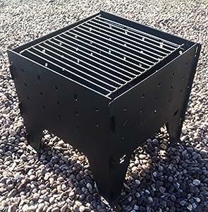 Made O' Metal Interlocking Fold Away Brazier Fire Pit Garden Firepit Stove BBQ