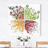 Bilderwelten Leinwandbild - Retro Flowers - Quadrat 1:1, Leinwand Leinwandbild - XXL Leinwanddruck Wandbild, Größe HxB: 30cm x 30cm