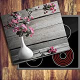 decorwelt | Ceranfeldabdeckung 60x52 cm Herdabdeckplatten 1 Teilig Elektroherd Induktion Herdschutz Deko Glasplatte Schneidebrett Sicherheitsglas Spritzschutz Glas Blumen Pink Holz
