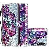 TASoker Handyhülle für LG W10 Hülle Telefon Fall Leder Glitzer Multifunktions Flip Case PU Leder Farbe mit Standhalterung und Lagerung Kreditkarten-Slot Mandala
