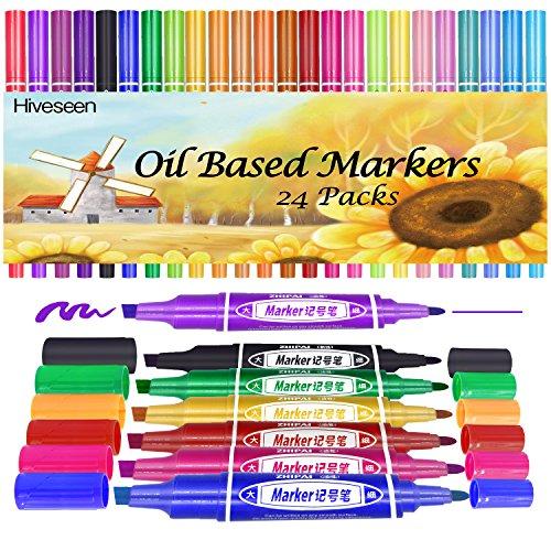 Hiveseen 24 Colores Rotuladores Marcador Permanente