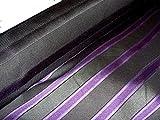 HH-NN-1968 5cm Stoffprobe Seidenstoff Jacquard Streifen grau lila Meterware ca. 67cm breit (Kurzballen)
