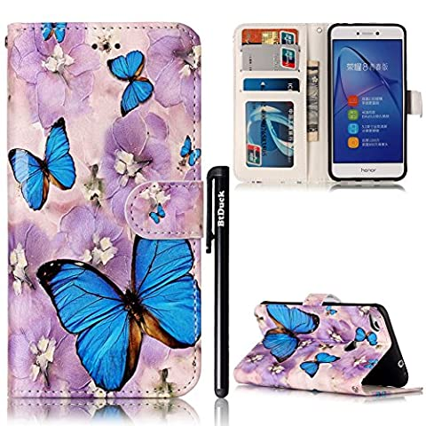 BtDuck Leather Case for Huawei P8 Lite 2017 Embossed Blue Butterfly Cloudy Day Purple Lilies ( Vibrant ) Stand Painted pattern Phone Protector PU Leather Flip Folio Cover Anti-slip Skin Outdoor Protection Simple Strict Shockproof Heavy Duty Robust Bumper Case Shell with Stander Oyster Card ( Travel Card Bus Pass)Holder Slots Pocket Kickstand Function Magnetic Closure + 1 * Black Stylus Pen Black Look Up Put down the