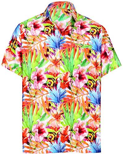 HAPPY BAY Funky hawaiihemd Hawaiian Hemd Beach Hemd Kurzarm 3D HD Männer Hawaiihemd Kragenknopf nach unten hawaiihemden übergröße Aloha XL Mehr_Aa12 -