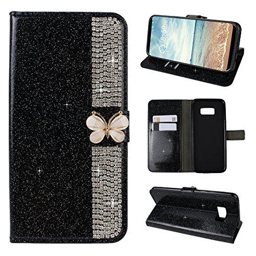 Galaxy S8 Hülle Leder Flip Case, Asnlove Book Style Wallet Tasche Hülle Bling Strass Diamant Schutzhülle Lederhülle Handyhülle aus Leder Flip Cover Taschenhülle mit Kreditkartenhaltern, Standfunktion, Geldbeutel, Schmetterling Magnetverschluss für Samsung Galaxy S8 - Schwarz