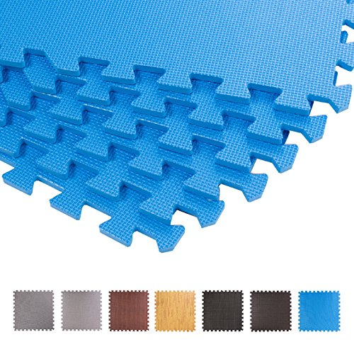 Schutzmatten 60 x 60 cm, Mattenstärke: 10-25mm Puzzlematte Sportmatte Unterlegmatte Gymnastikmatte Fitnessmatten Bodenschutz für Therapiezentren, Bodybuilding, Sportgeräte (Blau Mattenstärke: 10 mm, 12 Stück)