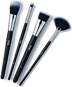 FIND - Set di pennelli indispensabili - Pennelli per piega, fondotinta, fard e pennello a ventaglio per illuminante (4 pennelli), n° 04, n° 08, n° 11, n° 12