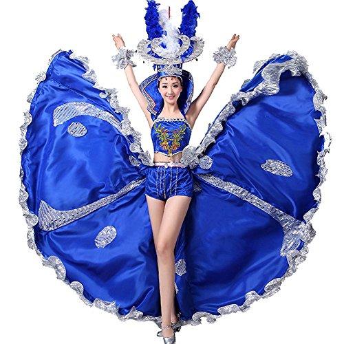 Wgwioo Eröffnungs-Tanz-Flamenco-Kleider Oben Rock Spanischer Mode-Nachtclub Moderne Bühne National Performance-Kostüm Big Swing , Deep Blue , (Kostüme Theater National)