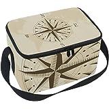 Alinlo Retro Bolsa de almuerzo con brújula antigua, con cremallera, bolsa térmica con aislamiento, bolsa de almuerzo, bolso d