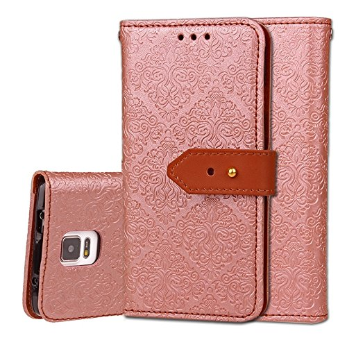 YHUISEN Galaxy Note 4 Case, Magnetverschluss European Style Wandgemälde Prägeartig PU Leder Flip Wallet Case Mit Stand Und Card Slot Für Samsung Galaxy Note 4 ( Color : Rose ) Rose Gold