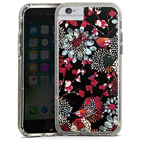 Apple iPhone 6 Bumper Hülle Bumper Case Glitzer Hülle Blumen Flowers Bunt Dunkel Bumper Case Glitzer gold
