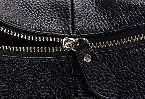 GoGou Damenmode Leder-große Taschen Satchel Handtasche Umhängetasche Schultertasche Brown