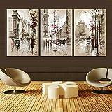 swmart Modern Home Dekoration Abstrakte Malerei Leinwand Retro Street Bilder City Landschaft Dekorative Farben 3Panel Wand-Kunst (kein Rahmen) swm6830,5x 50,8cm