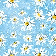 Idea Regalo - Tovaglioli di carta stampata a strati–margherite su sfondo blu, confezione da 20