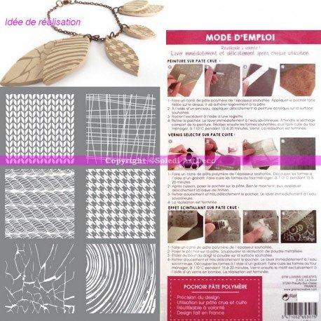 Schablone Kunststoff Siebdruck, 6Formen Material, Textur für Fimo, Modelliermasse Polymer oder Malerei, Brett 15,3x 11,4cm Material-textur