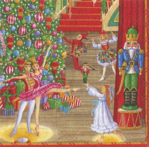 Weihnachten Ballett Entertaining mit Caspari Dinner Servietten 20Stück Weihnachten Caspari Servietten Abendessen Größe 40cm quadratisch 20in Pack 3-lagig - Caspari Dinner Servietten