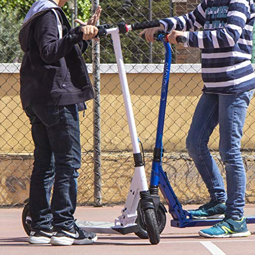 SmartGyro Xtreme XD Patín eléctrico para niños y jóvenes, ruedas 8', 3 velocidades, plegable, ligero, autonomía de 18 Km, batería de litio, freno eléctrico, Scooter, luces traseras, Blanco