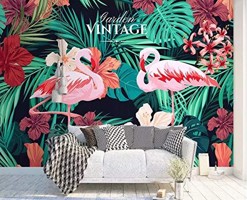 BHXINGMU Individuelle Fototapeten Nordischer Stil Flamingo Wohnzimmer-Tv-Hintergrundwand Große Wohnkultur 240Cm(H)×330Cm(W)