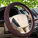 XuanMax Handgefertigt Holz Perle Lenkradbezug Handmade Lenkradhulle Universal Anti Rutsch Lenkradschoner Auto Lenkradabdeckung Car Steering Wheel Cover 38cm - Rot