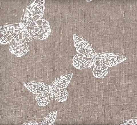 Tissu en lin imprimé – Les Papillons Chics (Naturel)   100% lin   Largeur: 140cm (1 mètre)