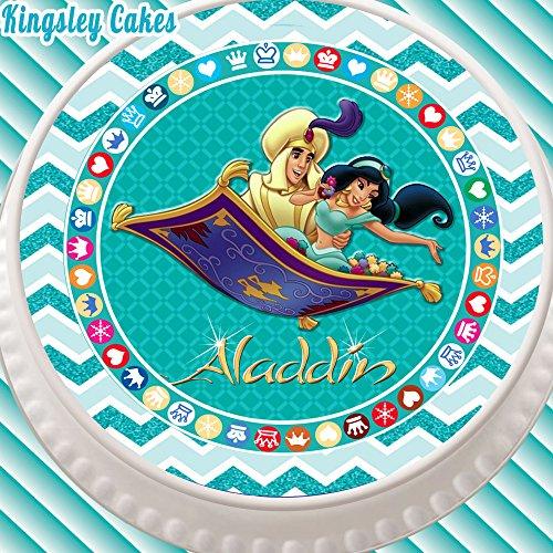 Cannellio Cakes vorgeschnittenen Essbarer Zuckerguss Cake Topper, 19,1cm rund Aladdin und Prinzessin Jasmin