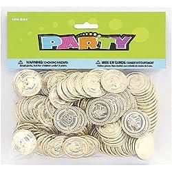 Unique Party Paquete de 144 Monedas del Tesoro de plástico, Color Oro (86932)