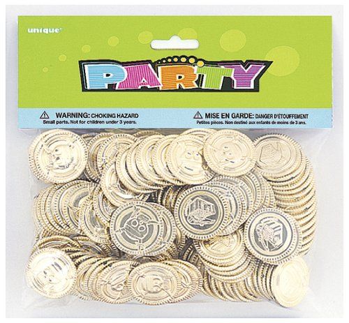 Unique Party 86932  - Plastic Gold Treasure Coins Party Bag Fillers, Pack of 144