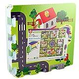 Puzzlematte Stadtstraße 92x92cm groß 9 teilig Spielmatte Puzzle Stadt Straßenteppich aus Schaumstoff für Kinder Boden