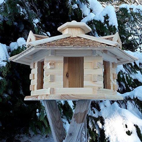 Sehr großes Vogelhaus Vogelhäuser Vogelfutterhaus Vogelhäuschen aus Holz Schreinerarbeit Gaube Natur XXL - 3