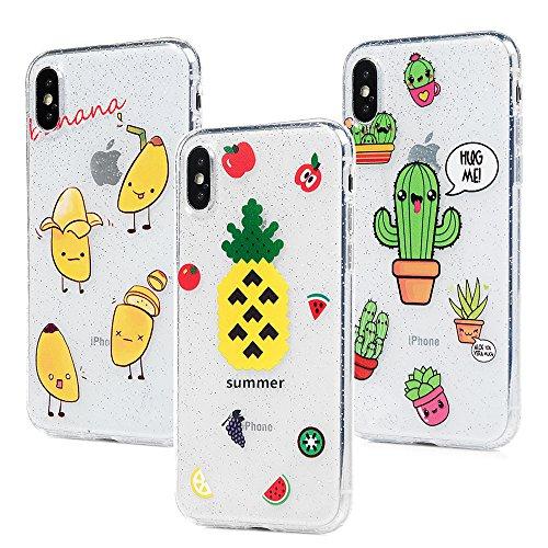 3x Cover iPhone X Silicone e Bling Glitter Brillanti, Custodia Morbida TPU Flessibile Gomma - MAXFE.CO Case Ultra Sottile Cassa Protettiva per iPhone X - Modello 2 Modello 1