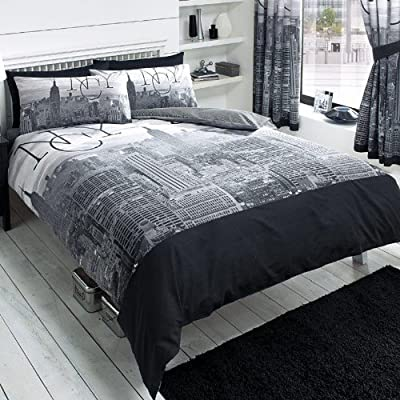 New York City Black Double Duvet and Pillowcase Set