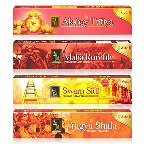 Zed Black Vedic Series Different Fragrances Incense Sticks for Pooja (Multicolour) - Pack of 4, 6 Packets Each
