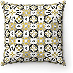 43x 43cm, diseño geométrico Original marroquí zellige azulejos decoración del hogar Cojín Funda de almohada (gris, negro & mostaza)