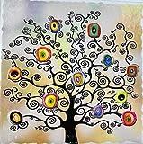 marco de madera con marco Color blanco Shabby Chic con baldosa cerámica en el Centro decorada y colorida en relieve 100% Made in Italy 9personas árbol de la Vida sagrada Familia naturaleza 25x 25cm