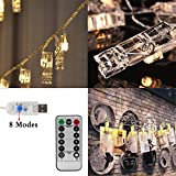 Photo String Lights , AnSaw 40 LED Hanging Display Starry Lights ,Lighted Clips DIY Picture Cards Artwork, Home Fairly Decor Twinkle Light With 8 Remote Control Lighting Effects (USB Powered)