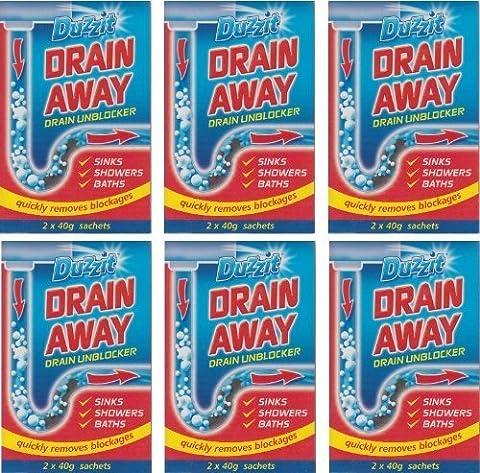 6 x Boxes Of Duzzit Drain Away - 2 x 40g Sachets Sink Drain Unblocker by Duzzit