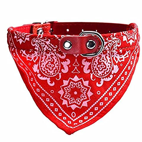 Collier chien réglable Puppy chat Neck Scarf Bandana Collier Foulard (36.5*1.5cm, Rouge)