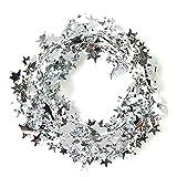 Lacheln Star Lametta Dekoration Weihnachtsbaum, Girlanden, 2Sets, 49Fuß Total silber
