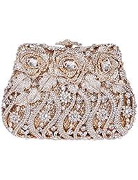 Damen Clutch Abendtasche Handtasche Geldbörse Luxus Funkelt Glitzer Schick Krake Tasche mit wechselbare Trageketten von Santimon Rose Gold Santimon