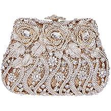 Damen Clutch Abendtasche Handtasche Geldbörse Luxus Funkelt Glitzertasche Blume Rose Tasche mit wechselbare Trageketten von Santimon Gold Santimon cCEEp