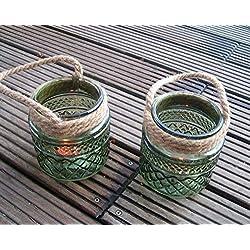 Traumschöne große Windlichter (2er-Set) grüne Gläser, Teelichthalter