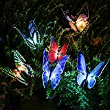 Qualife 2019 New 3Pack Garden Decorations Butterfly, Solar Powered Garden Lights Outdoor Decorative Colour Changing, Solar LED Path Stake Lights, Housewarming Gifts for Women, Garden Ornaments Decor.